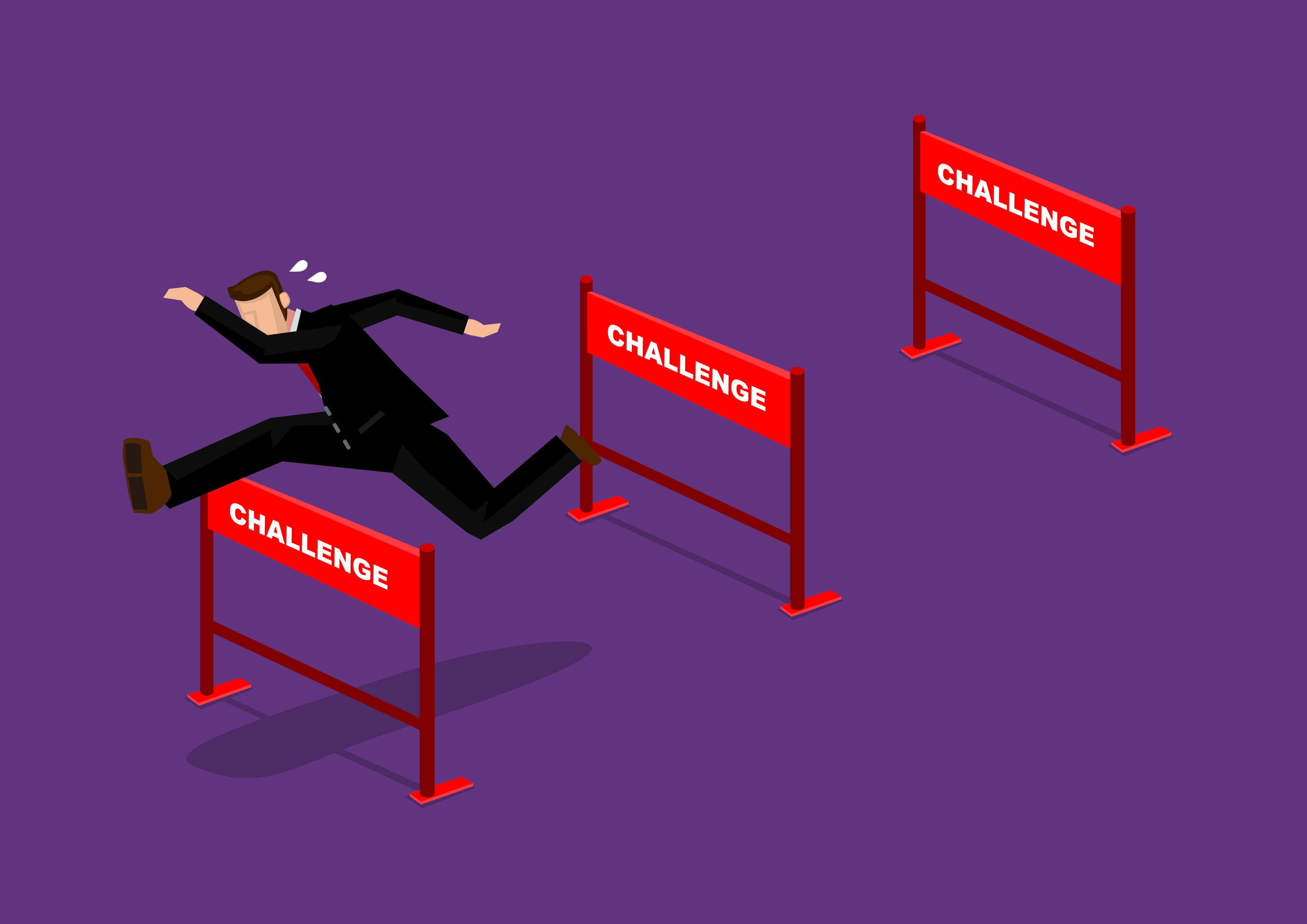 Overcoming Challenges Business Cartoon Vector Illustration